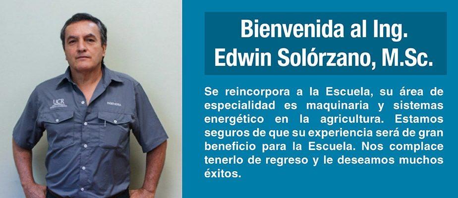 Bienvenida M.Sc. Edwin Solorzano