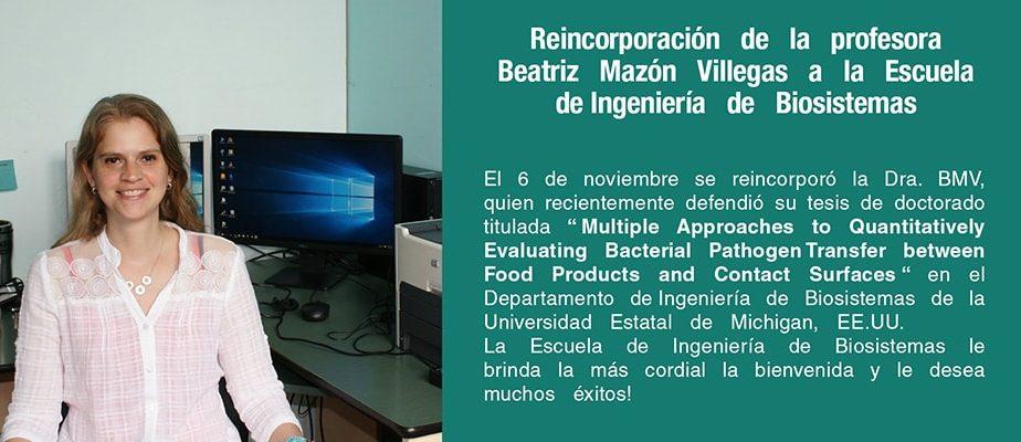 Bienvenida Ing. Beatriz Mazon V. Ph.D.