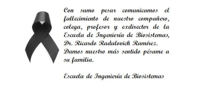 Nota Luctuosa del Dr. Ricardo Radulovich Ramírez