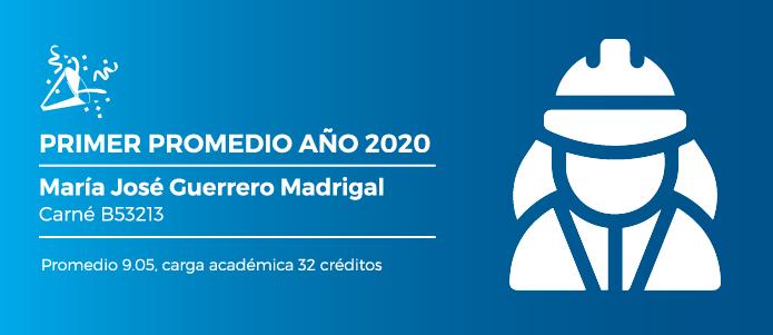 Mejor promedio María José Guerrero Madrigal