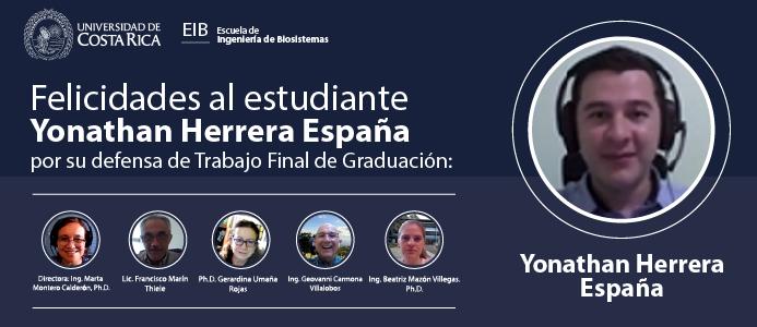 Defensa de Trabajo Final de Graduación del estudiante Yonathan Herrera España