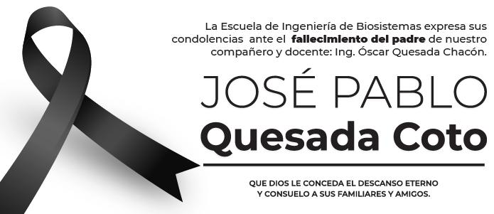 Fallecimiento del papá del profesor Oscar Quesada C